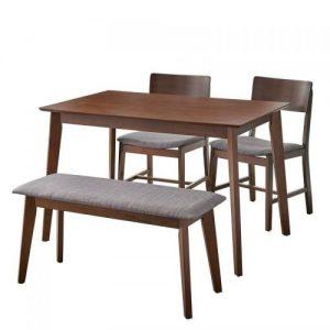 set meja makan kayu bangku
