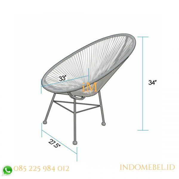 ukuran kursi santai oval