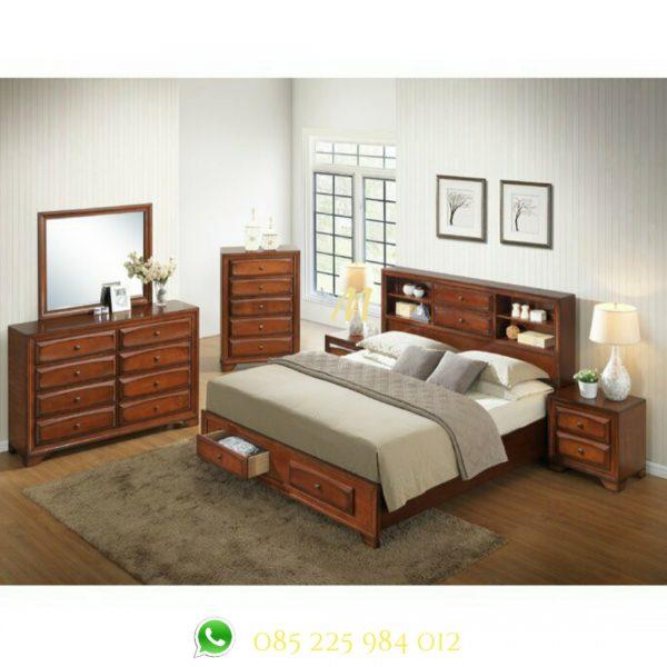 set tempat tidur jati laci