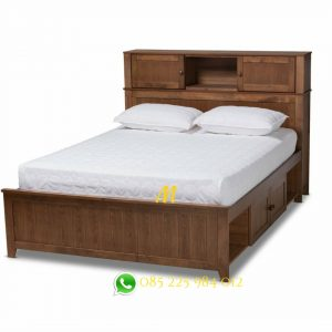 tempat tidur laci jati