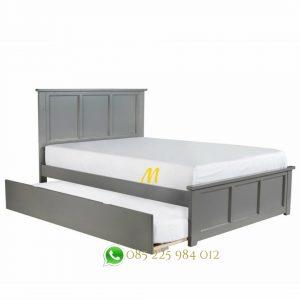 tempat tidur susun grey