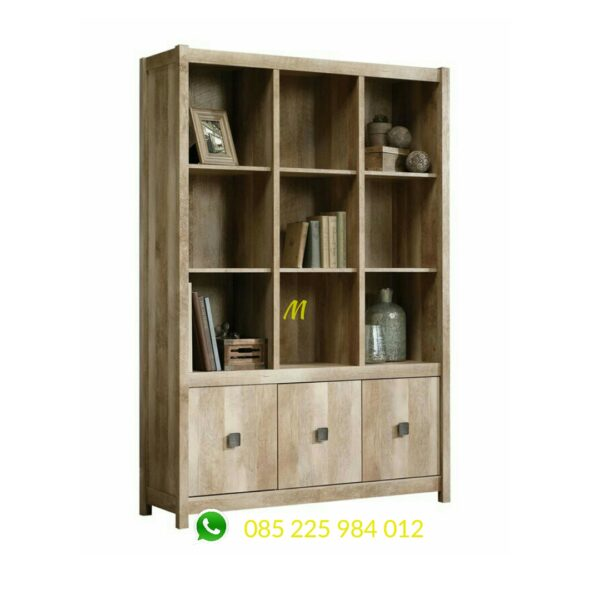 lemari buku minimalis natural wood